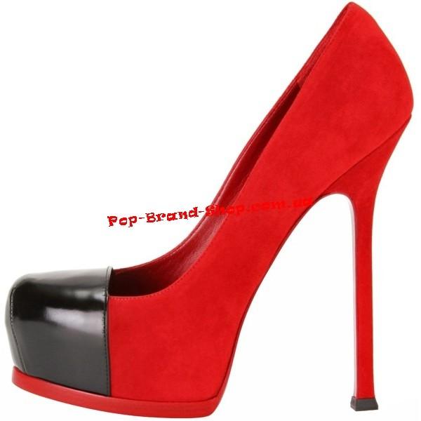 Туфли Сен Лоран Cap Toe красная замша, черная лакированная кожа купить 8167e59a696